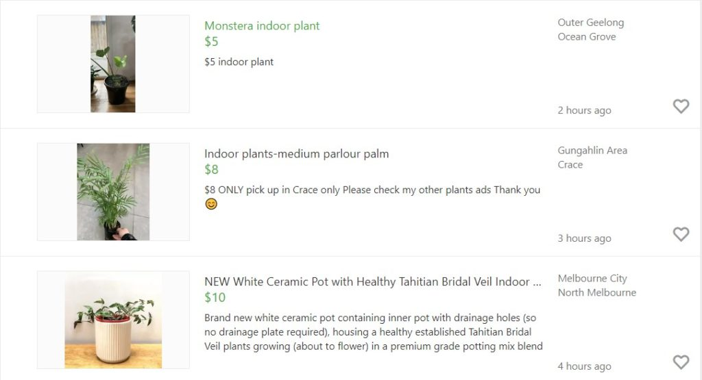 Example of cheap online plants found using Gumtree